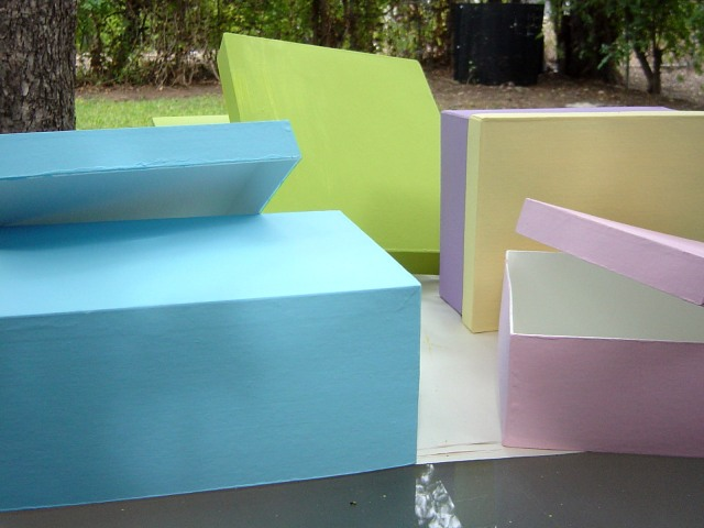 Freshly painted boxes, drying