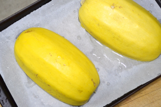 Spaghetti Squash ready for oven